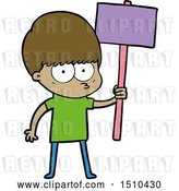 Vector Clip Art of Retro Cartoon Nervous Boy Holding Placard by Lineartestpilot