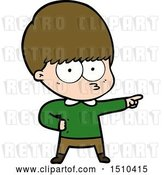 Vector Clip Art of Retro Cartoon Nervous Boy Pointing by Lineartestpilot