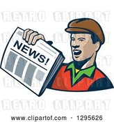 Vector Clip Art of Retro Cartoon Newspaper Boy Holding out a Paper by Patrimonio