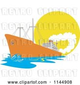Vector Clip Art of Retro Cartoon Orange Cargo Ship Against the Sun by Patrimonio