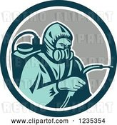 Vector Clip Art of Retro Cartoon Pest Control Exterminator Spraying in a Circle by Patrimonio