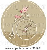 Vector Clip Art of Retro Cartoon Pink Bird on a Penny Farthing Bicycle in a Brown Circle by Yayayoyo