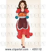 Vector Clip Art of Retro Cartoon Pinup Lady Carrying a Roasted Turkey by BNP Design Studio