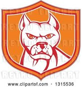 Vector Clip Art of Retro Cartoon Pitbull Guard Dog in a Tan Red Orange and White Shield by Patrimonio