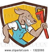 Vector Clip Art of Retro Cartoon Plumber Dog Holding up a Monkey Wrench in a Brown White and Yellow Shield by Patrimonio
