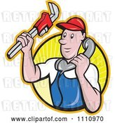 Vector Clip Art of Retro Cartoon Plumber Holding a Monkey Wrench and Taking a Call over a Circle of Rays by Patrimonio