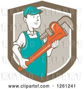 Vector Clip Art of Retro Cartoon Plumber Holding a Monkey Wrench in a Brown Shield by Patrimonio