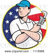 Vector Clip Art of Retro Cartoon Plumber Holding a Monkey Wrench over an American Flag Circle by Patrimonio