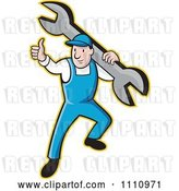 Vector Clip Art of Retro Cartoon Plumber Holding a Thumb up and Carrying a Wrench by Patrimonio