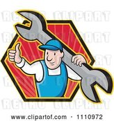Vector Clip Art of Retro Cartoon Plumber Holding a Thumb up and Wrench in a Hexagon by Patrimonio