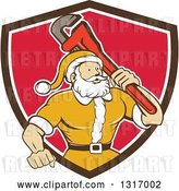 Vector Clip Art of Retro Cartoon Plumber Santa in a Yellow Suit, Holding a Monkey Wrench over His Shoulder in a Brown White and Red Shield by Patrimonio