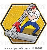 Vector Clip Art of Retro Cartoon Plumber Using a Giant Monkey Wrench on a Pipe over a Hexagon of Rays by Patrimonio