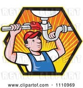 Vector Clip Art of Retro Cartoon Plumber Working on a Sink Pipe in a Hexagon of Rays by Patrimonio