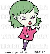 Vector Clip Art of Retro Cartoon Pointing Elf Girl by Lineartestpilot