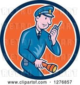 Vector Clip Art of Retro Cartoon Police Guy Talking on a Walkie Talkie and Holding a Flashlight in a Blue White and Orange Circle by Patrimonio