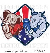 Vector Clip Art of Retro Cartoon Political Elephant and Donkey Boxing over an American Diamond by Patrimonio