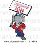 Vector Clip Art of Retro Cartoon Political Republican Elephant Holding a Decision 2016 Sign by Patrimonio