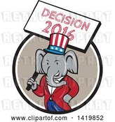 Vector Clip Art of Retro Cartoon Political Republican Elephant Holding a Decision 2016 Sign, Emerging from a Circle by Patrimonio