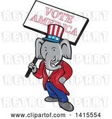 Vector Clip Art of Retro Cartoon Political Republican Elephant Holding a Vote American Sign by Patrimonio