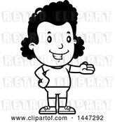 Vector Clip Art of Retro Cartoon Presenting Black Girl in Shorts by Cory Thoman