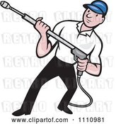 Vector Clip Art of Retro Cartoon Pressure Washer Worker Holding a Nozzle by Patrimonio