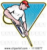 Vector Clip Art of Retro Cartoon Pressure Washer Worker over a Blue Triangle of Rays by Patrimonio