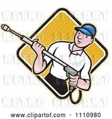 Vector Clip Art of Retro Cartoon Pressure Washer Worker over a Diamond of Rays 2 by Patrimonio