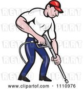 Vector Clip Art of Retro Cartoon Pressure Washer Worker Pointing a Nozzle by Patrimonio