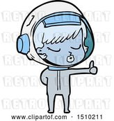 Vector Clip Art of Retro Cartoon Pretty Astronaut Girl Giving Thumbs up by Lineartestpilot