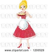 Vector Clip Art of Retro Cartoon Pretty Blond Lady an Apron and Polka Dot Dress, Holding a Cake by Pushkin