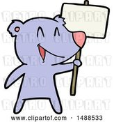 Vector Clip Art of Retro Cartoon Protester Bear Cartoon by Lineartestpilot