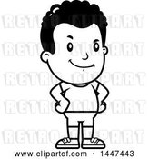 Vector Clip Art of Retro Cartoon Proud Black Boy in Shorts by Cory Thoman