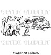 Vector Clip Art of Retro Cartoon Raccoon and Dog Watching KChildren Board a School Bus in by Picsburg