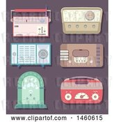 Vector Clip Art of Retro Cartoon Radios by BNP Design Studio