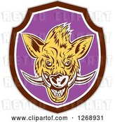 Vector Clip Art of Retro Cartoon Razorback Boar Head in a Brown White and Purple Shield by Patrimonio