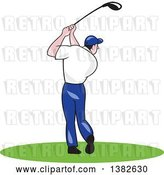 Vector Clip Art of Retro Cartoon Rear View of a White Male Golfer Swinging by Patrimonio