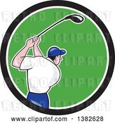 Vector Clip Art of Retro Cartoon Rear View of a White Male Golfer Swinging in a Black White and Green Circle by Patrimonio