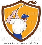 Vector Clip Art of Retro Cartoon Rear View of a White Male Golfer Swinging in a Brown White and Orange Shield by Patrimonio