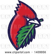 Vector Clip Art of Retro Cartoon Red Cardinal Bird with a Leaf in His Mouth by Patrimonio