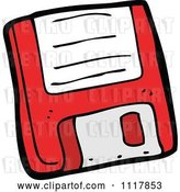 Vector Clip Art of Retro Cartoon Red Computer Floppy Disk 1 by Lineartestpilot