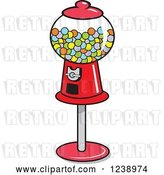 Vector Clip Art of Retro Cartoon Red Gumball Machine by Johnny Sajem