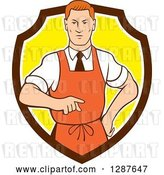 Vector Clip Art of Retro Cartoon Red Haired White Male Chef Wearing an Apron and Pointing in a Brown White and Yellow Shield by Patrimonio