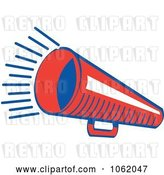 Vector Clip Art of Retro Cartoon Red Megaphone by Andy Nortnik