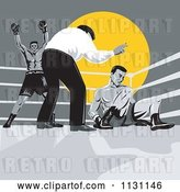 Vector Clip Art of Retro Cartoon Referee Counting down at Boxers in a Ring by Patrimonio