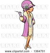 Vector Clip Art of Retro Cartoon Roaring 20s Socialite Lady Holding a Cigarette by Clip Art Mascots