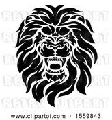 Vector Clip Art of Retro Cartoon Roaring Male Lion Head by AtStockIllustration