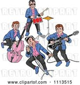 Vector Clip Art of Retro Cartoon Rockabilly Music Band Singing and Playing the Bass Drums and Guitar by LaffToon