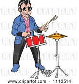Vector Clip Art of Retro Cartoon Rockabilly Musician Guy Playing the Drums by LaffToon