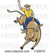 Vector Clip Art of Retro Cartoon Rodeo Cowboy on a Bucking Bull by Patrimonio