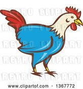 Vector Clip Art of Retro Cartoon Rooster by Patrimonio